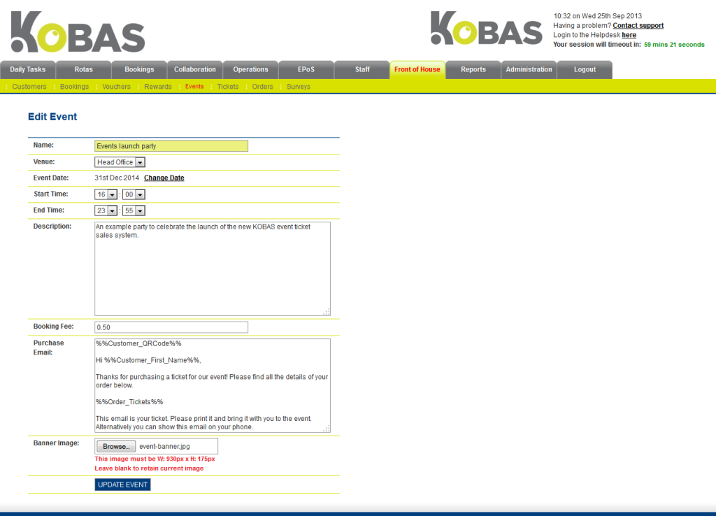 Screenshot of Kobas event creation form