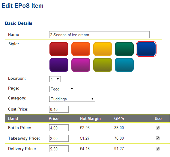 EPoS Item Price Bands