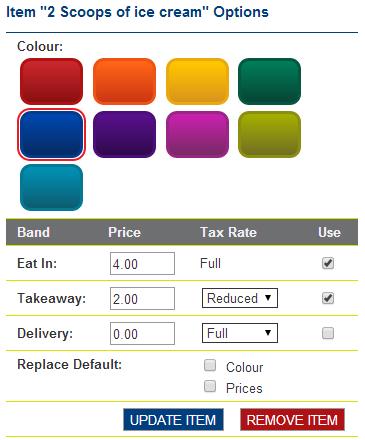 Menu item tax rates