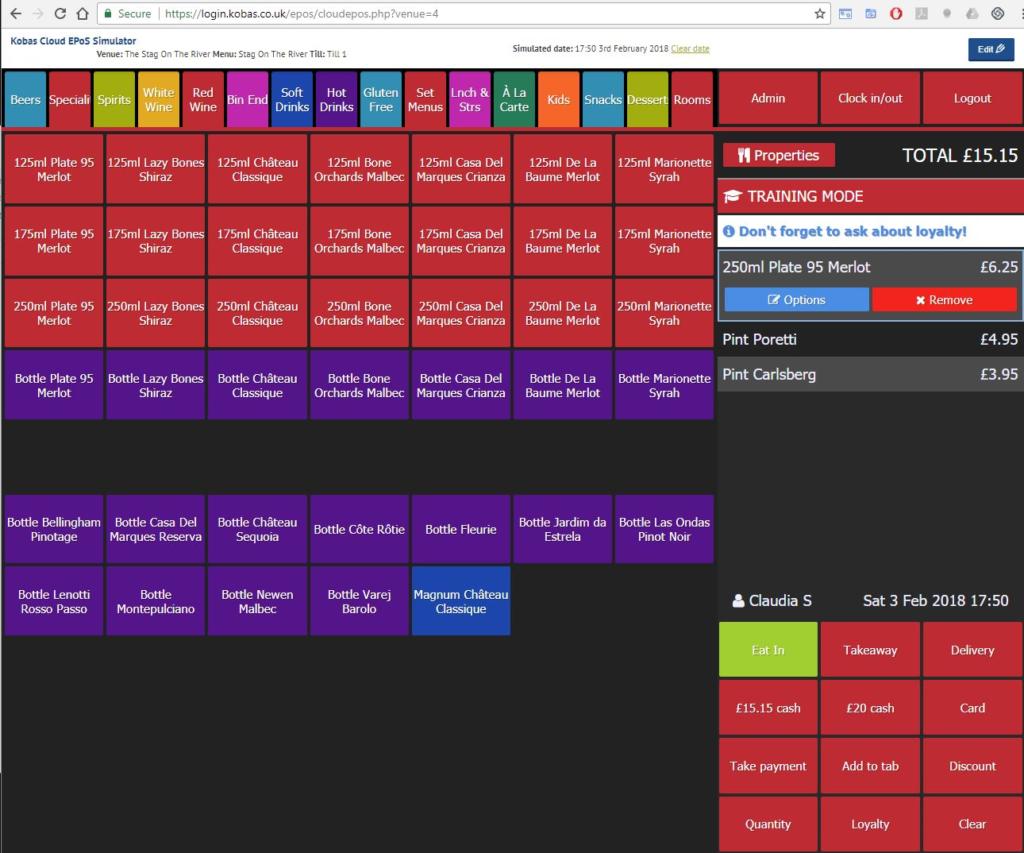 Screen grab of the Kobas Simulator in use