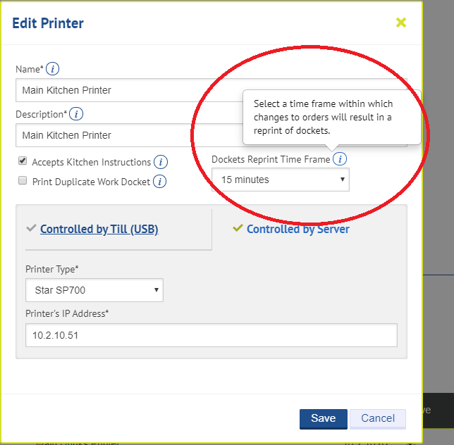 Screen grab of the Kobas Cloud Printer Manager, with the Dockets Reprint Time Frame setting highlighted.